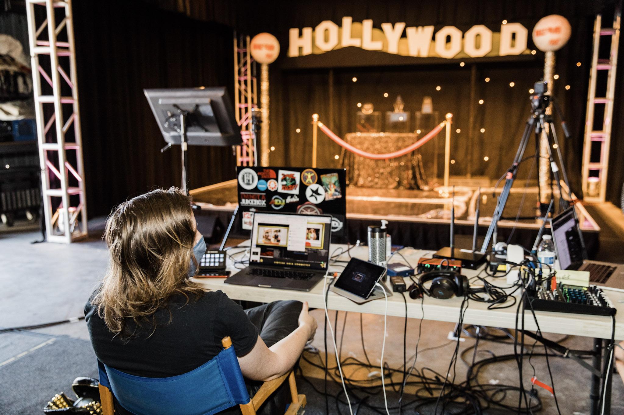 Setup for a virtual event from ILEA Gala