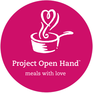 """A logo of Project Open Hand with the tagline """"meals with love."""""""